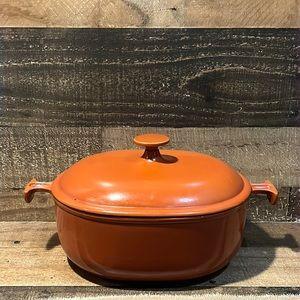Vintage 1970s Le Creuset Dark Orange 3.5 Quart Dutch Oven Baking Pan w Lid #25